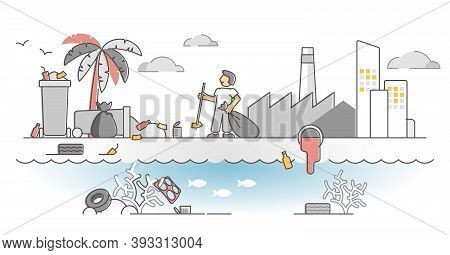 Coastal Pollution Problem As Beach Water Waste Contamination Outline Concept. Ecological Garbage Dan