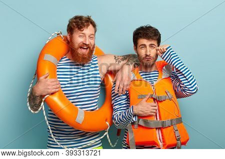 Professional Swim Instructor Leans At Shoulder Of Trainee With Dejected Look, Wears Lifejacket, Crie
