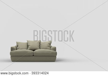 Grey Couch With Pillows On Studio White Background. 3d Rendering And Illustration Of Sofa