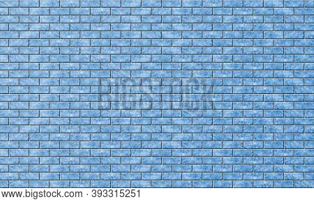 Brickwork With Marble Or Blue Ice Texture. Background Of Evenly Laid Bright Colored Bricks. Template