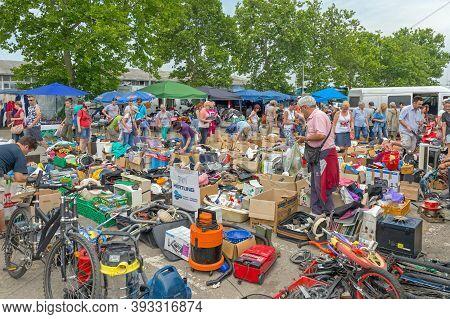 Novi Sad, Serbia - June 2, 2018: People Shopping At Famous Najlon Pijaca Flea Market In Novi Sad, Se