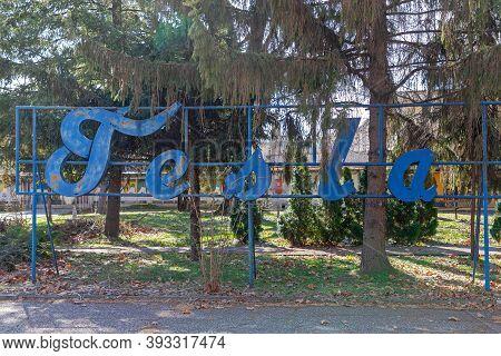 Pancevo, Serbia - March 10, 2019: Blue Sign Tesla At Defunct Lightbulbs Factory In Pancevo, Serbia.