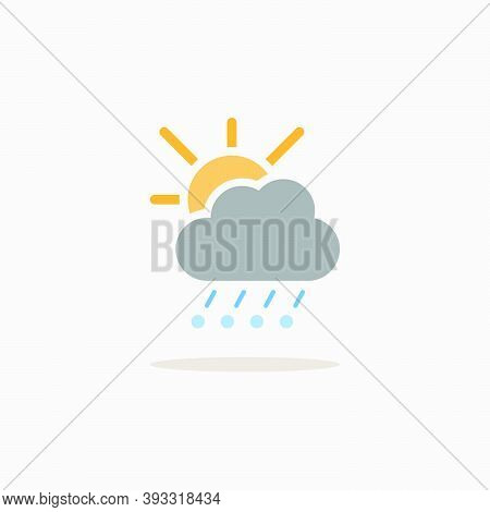 Hail, Rain, Cloud And Sun. Color Icon With Shadow. Weather Glyph Vector Illustration
