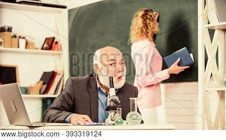 College University Education. Professor Biologist Or Chemist Teaching Student. Educational Activity.