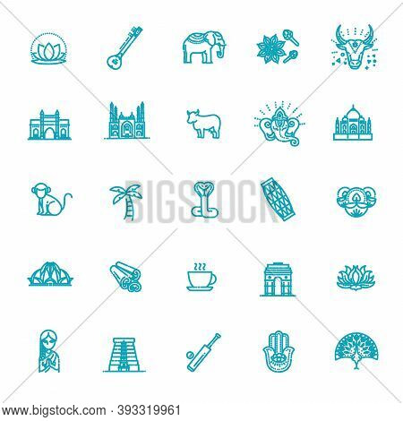 India Icons Set. Indian Attractions, Line Design. Tourism In India, Isolated Vector Illustration. Tr