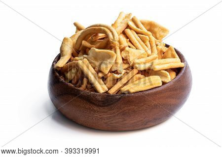 Savoury  Indian Snack In Wooden Bowl Isolated On White