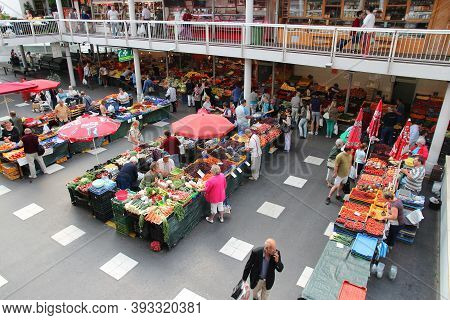 Budapest, Hungary - June 20, 2014: People Visit A Local Food Market In Orszagut Area Of Budapest Cit