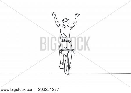 One Continuous Line Drawing Of Young Sporty Man Bicycle Racer Cross Finish Line And Raise Up His Han