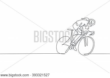 One Single Line Drawing Young Energetic Woman Bicycle Racer Focus Train Her Speed Vector Graphic Ill