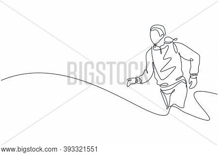 One Single Line Drawing Of Young Happy Runner Man Exercise To Improve Stamina Graphic Vector Graphic