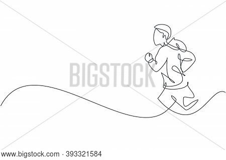 One Single Line Drawing Of Young Happy Runner Man Exercise To Improve Stamina Vector Illustration Gr