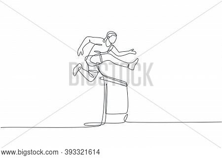 Single Continuous Line Drawing Of Young Happy Health Runner Man Jump Running Through Hurdle Barrier
