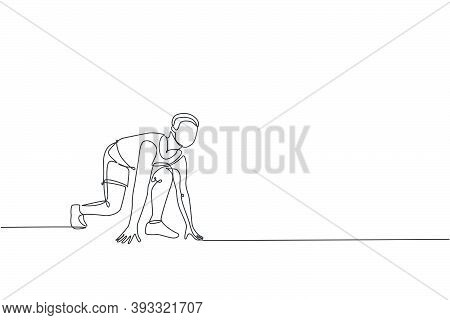 Single Continuous Line Drawing Of Young Happy Health Sprinter Man Ready At Pole Start Position To Ru