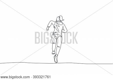 One Single Line Drawing Of Young Happy Runner Woman Wearing Hoodie Exercise To Improve Stamina Vecto
