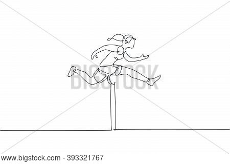 Single Continuous Line Drawing Of Young Happy Health Runner Woman Jump Running Through Hurdle Barrie