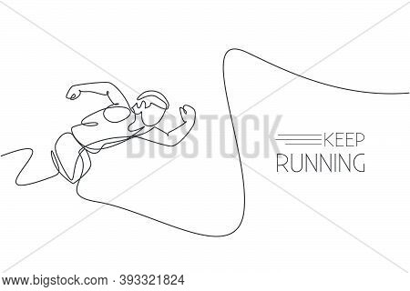 One Continuous Line Drawing Of Young Sporty Man Runner Focus To Sprint Run Fast. Health Activity Spo