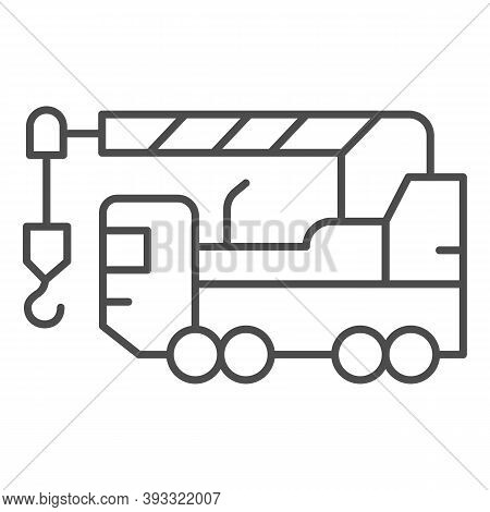 Heavy Duty Truck Thin Line Icon, Heavy Equipment Concept, Crane Truck Sign On White Background, Equi