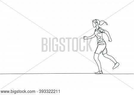 One Continuous Line Drawing Of Young Sporty Woman Runner Run Relax While Listening Music. Health Act
