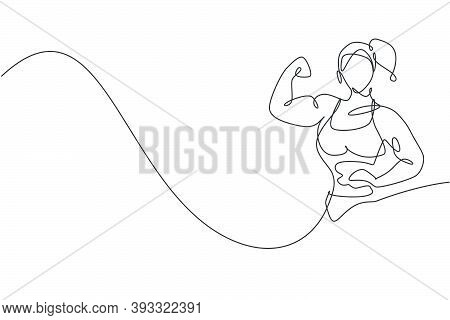 One Continuous Line Drawing Of Young Strong Model Woman Bodybuilder Pose Confidently. Fitness Gym Lo