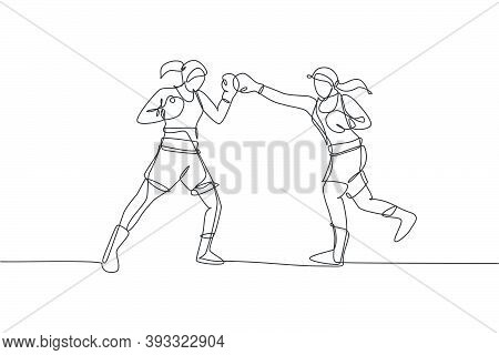 One Single Line Drawing Of Two Young Energetic Women Boxer Sparring Fight At Gym Vector Illustration