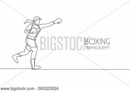 One Single Line Drawing Of Young Energetic Woman Boxer Practice Her Jab Punch Vector Illustration. S
