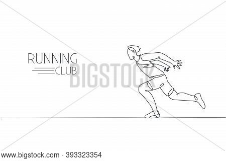 One Single Line Drawing Of Young Energetic Man Runner Sprint Run So Fast Vector Illustration. Indivi
