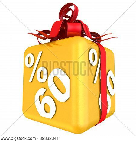 Sixty Percent As A Gift. The Gold Cube With The Inscription Sixty Percent Is Tied With A Scarlet Rib