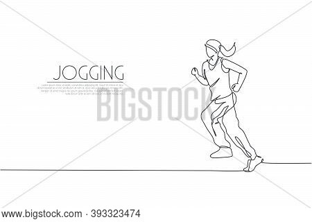Single Continuous Line Drawing Young Agile Woman Runner Jogging Run. Individual Sport With Competiti