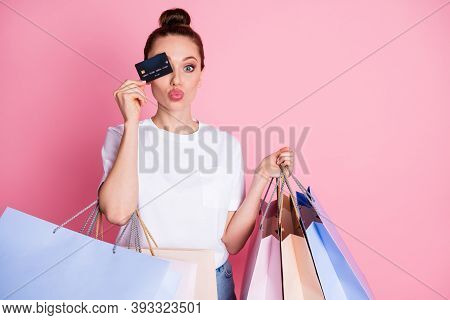 Photo Of Cute Lovely Girl Shopping Center Client Close Cover Her Eyes Debit Card Send Air Kiss Hold