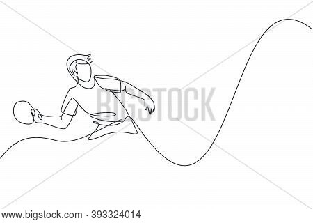 One Continuous Line Drawing Of Young Sporty Man Table Tennis Player Practice Hitting The Ball. Compe