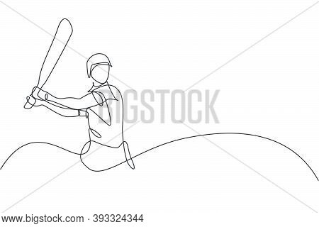 One Single Line Drawing Of Young Energetic Man Cricket Player Stance At Stadium To Hit The Ball Vect
