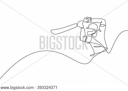 One Single Line Drawing Young Energetic Man Cricket Player Hit The Ball Homerun At Stadium Graphic V
