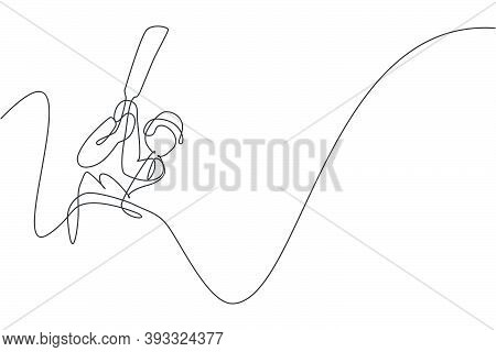 One Continuous Line Drawing Of Young Happy Man Cricket Player Swing Cricket Bat Hard At Field Vector