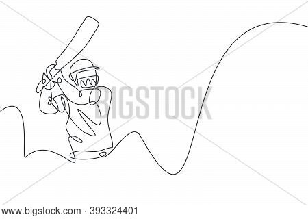 One Single Line Drawing Of Young Energetic Man Cricket Player Practice To Hit The Ball Precisely Vec