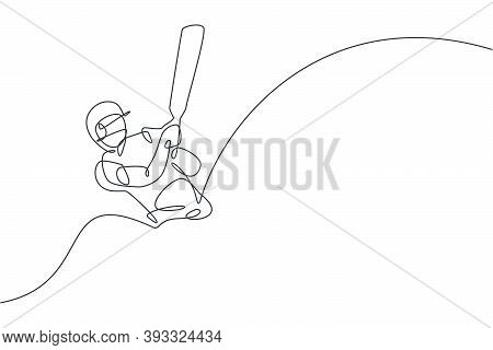 One Continuous Line Drawing Of Young Happy Man Cricket Player Focus To Train Cricket Bat Swing Vecto