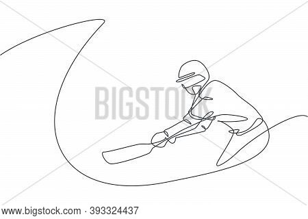 Single Continuous Line Drawing Of Young Agile Man Cricket Player Practice To Swing The Cricket Bat V