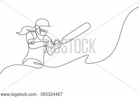 One Single Line Drawing Of Young Energetic Woman Cricket Player Successfully Hit The Ball Home Run V