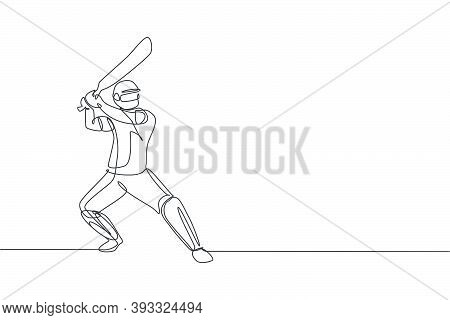 Single Continuous Line Drawing Of Young Agile Man Cricket Player Standing And Ready To Hit The Ball