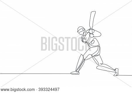 One Single Line Drawing Of Young Energetic Man Cricket Player Standing And Hitting The Ball Vector I
