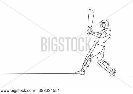 Single Continuous Line Drawing Of Young Agile Man Cricket Player Successfully Hit The Ball At Field
