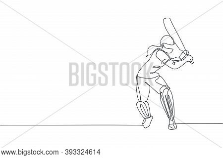 Single Continuous Line Drawing Of Young Agile Woman Cricket Player Standing To Practice Her Skill Ve