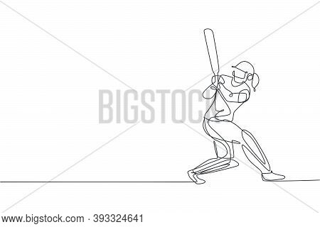 One Continuous Line Drawing Of Young Woman Cricket Player Focus Practice To Swing Cricket Bat Vector