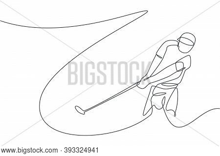 One Continuous Line Drawing Of Young Golf Player Swing Golf Club And Hit The Ball. Leisure Sport Con