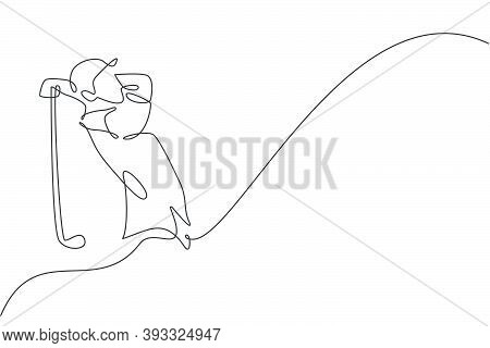 One Single Line Drawing Of Young Sporty Golf Player Hit The Ball Using Golf Club Vector Graphic Illu