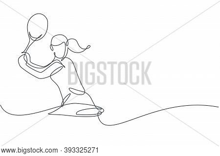 One Continuous Line Drawing Of Young Happy Woman Tennis Player Concentrate Hit The Ball. Competitive