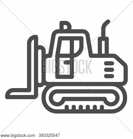 Industrial Track Loader Line Icon, Heavy Equipment Concept, Crawler Dozer Tractor Sign On White Back