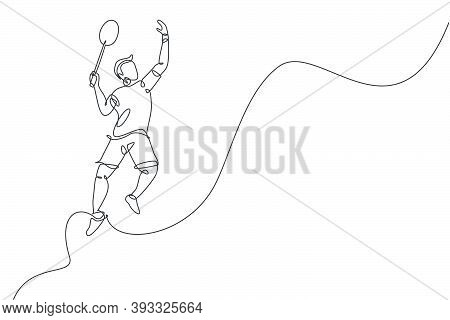 Single Continuous Line Drawing Young Agile Badminton Player Jumping Smash Shuttlecock. Competitive S