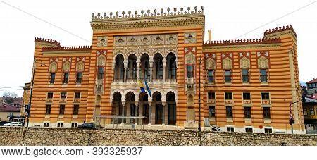 Sarajevo, Bih, March 8, 2020. City Hall, Sarajevo, Bosnia And Herzegovina. Vijecnica Is The National