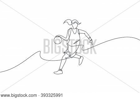 One Continuous Line Drawing Of Young Agile Basketball Woman Player Dribbling The Ball. Teamwork Comp