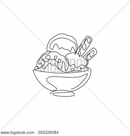 One Single Line Drawing Of Fresh Delicious Ice Cream Cup With Wafer Stick And Wafer Roll Vector Illu